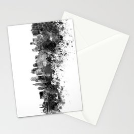 Kansas City skyline in black watercolor Stationery Cards