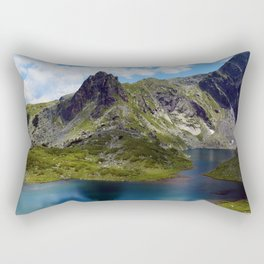 The twin lake, the largest of the seven Rila lakes Rectangular Pillow