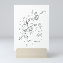 Minimal Line Art Woman Face II Mini Art Print