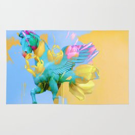 The Fly of Angelic Flowers - Digital Mixed Fine Art Rug