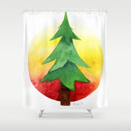 The Pine Guard Watercolor Logo Shower Curtain