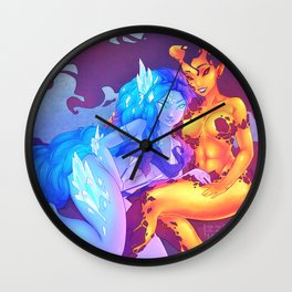 Iika and Ifrys - Fire and Ice Wall Clock