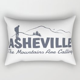 Asheville - The Mountains Are Calling - AVL 2 Grey On White Rectangular Pillow