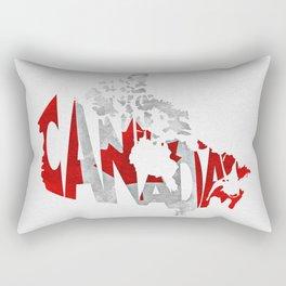 Canada Typographic World Map / Canada Typography Flag Map Art Rectangular Pillow