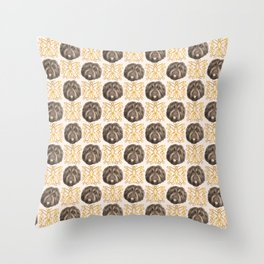 Cute Fluffy Brown Dogs and Ornamental Butterflies - Midcentury Pattern Throw Pillow