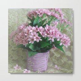 Bucket of Pink Flowers Metal Print