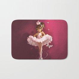 Ballerina with butterfly Bath Mat