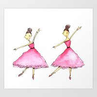 ballet Art Prints featuring Ballet by K. Fry Illustration