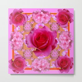 Purple pink Red Roses Patterns Floral  Art Metal Print