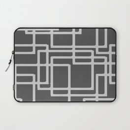 Retro Modern Blanched Slate Rectangles On Storm Grey Laptop Sleeve