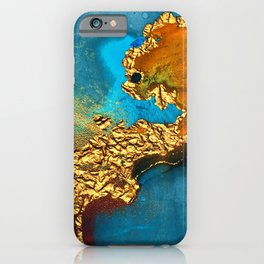Glitter Gold Fairy Dust On Turquoise Blue Abstract iPhone Case