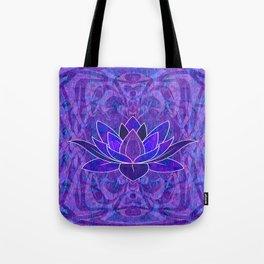 Blue and Purple Lotus Floral Tribal Print Tote Bag