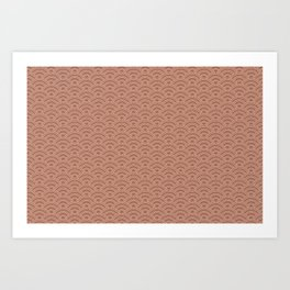 Sherwin Williams Cavern Clay Scallop Wave Pattern and Polka Dots Art Print