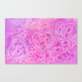 Pink Lace Hearts Canvas Print
