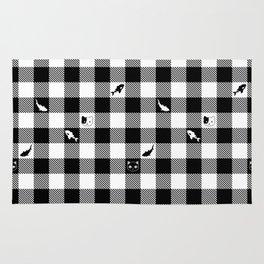 Black and White Checkered Animals Rug