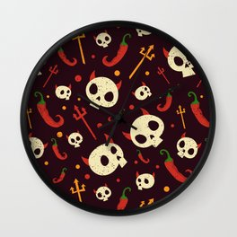 Skulls Hot Chili Peppers Hell Pattern Wall Clock