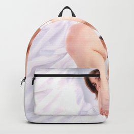 9374-KMA Brown Eyed Girl on Mirror Looking Up Fine Art Nude High Key Backpack
