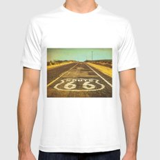 Route 66 Road Marker MEDIUM White Mens Fitted Tee