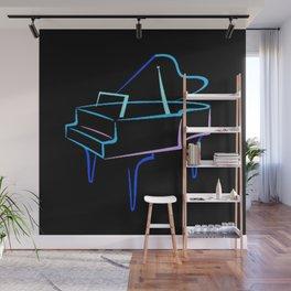 Blue Abstract Grand Piano Wall Mural