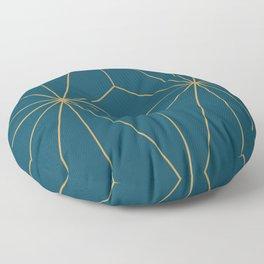 Peacock blue geometrical pyramid Floor Pillow