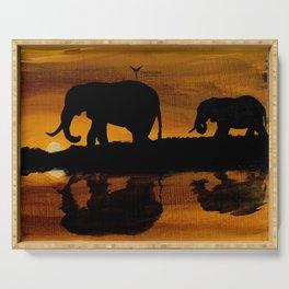 Elephant Sunset Serving Tray