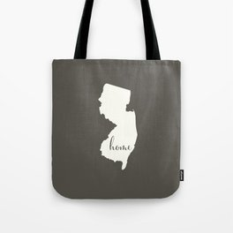 New Jersey is Home - White on Charcoal Tote Bag