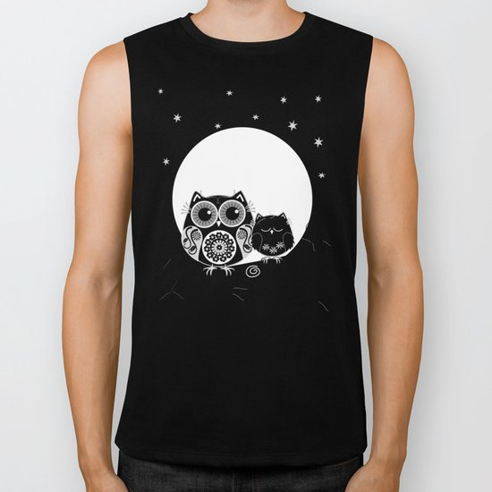 B&W Flower power Owl and her Sleepy Baby Biker Tank