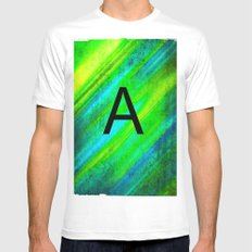 LETTER A White Mens Fitted Tee MEDIUM