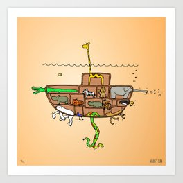Noah's Ark Submarine, Wall Art, Nursery Decor, Wall Art for Boys Room Art Print