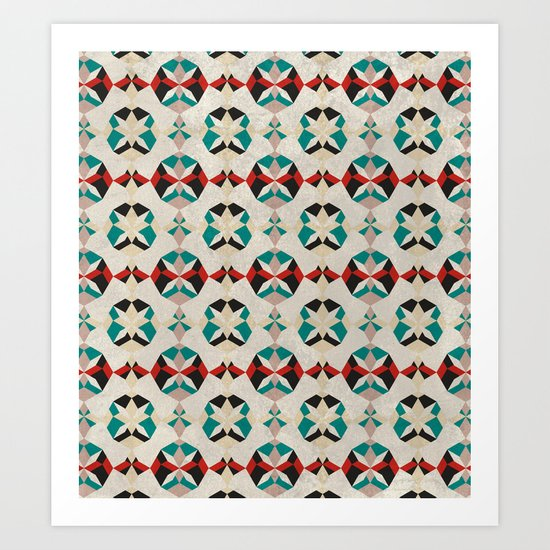 Abstract Pattern - Teal & Red Art Print