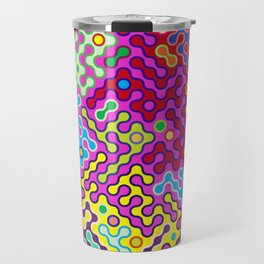 Abstract Psychedelic Pop Art Truchet Tile Pattern Travel Mug