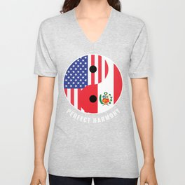 USA Peru Ying Yang Heritage for Proud Peruvian American, Biracial American Roots, Culture, Unisex V-Neck