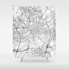 Frankfurt Map White Shower Curtain