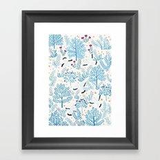 white birds garden Framed Art Print