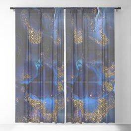 Gold and Indigo Malachite Marble Sheer Curtain
