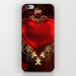 Gothic Red Rose Heart iPhone Skin