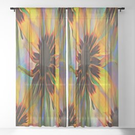 Black Eyed Susan Rainbow Floral Sheer Curtain