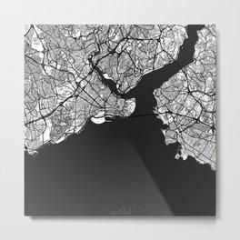 Istanbul Map Gray Metal Print