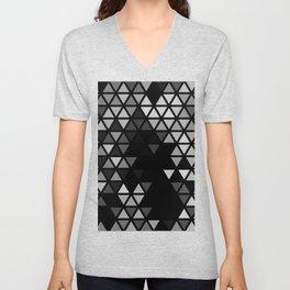 Geometric Fractal Triangles Black Noir Unisex V-Neck