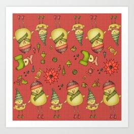 Two Chicks Pattern ~ Red Art Print