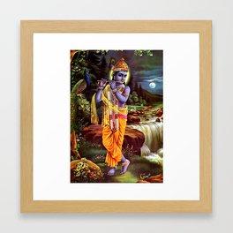 Lord Krishna Playing Flute Yoga Meditation Hindu Poster Framed Art Print