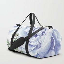 Pretty Indigo Blue Roses Garden Duffle Bag