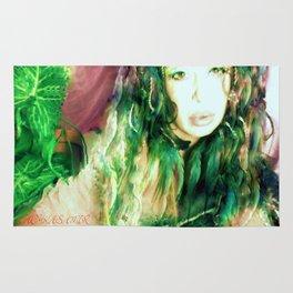 Fairy feather  fairy goddess green feathers  kashmir,art print  Rug