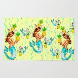 Tropical Pineapple Mermaid with Merkitties Rug