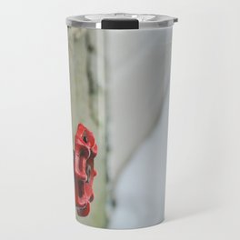 Old red tap in winter Travel Mug