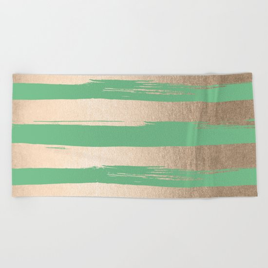 Painted Stripes Gold Tropical Green Beach Towel