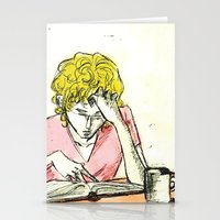 les mis Stationery Cards featuring Enjolras studying Les Mis by Pruoviare