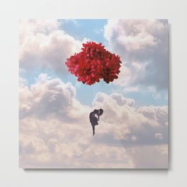 Flower balloon takes her to the wild blue yonder Metal Print