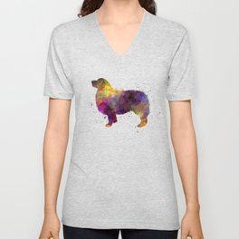Australian Shepherd 01 in watercolor Unisex V-Neck