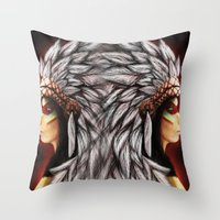 native american Throw Pillows featuring Native by PanDuhVka